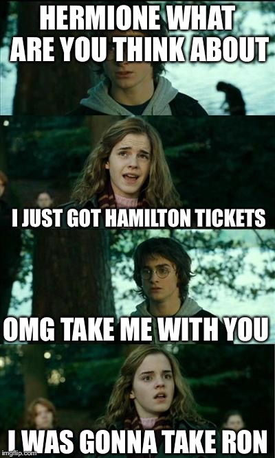 Harry Potter and Hermione | HERMIONE WHAT ARE YOU THINK ABOUT I JUST GOT HAMILTON TICKETS OMG TAKE ME WITH YOU I WAS GONNA TAKE RON | image tagged in harry potter and hermione | made w/ Imgflip meme maker
