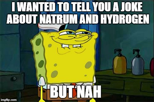 Dont You Squidward Meme | I WANTED TO TELL YOU A JOKE ABOUT NATRUM AND HYDROGEN BUT NAH | image tagged in memes,dont you squidward | made w/ Imgflip meme maker