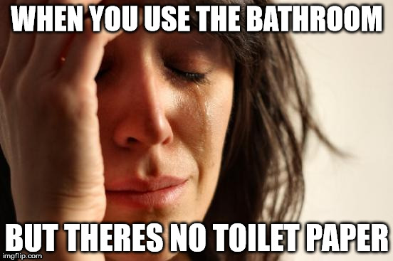 First World Problems Meme | WHEN YOU USE THE BATHROOM BUT THERES NO TOILET PAPER | image tagged in memes,first world problems | made w/ Imgflip meme maker