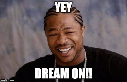 Yo Dawg Heard You Meme | YEY DREAM ON!! | image tagged in memes,yo dawg heard you | made w/ Imgflip meme maker