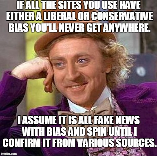 Creepy Condescending Wonka Meme | IF ALL THE SITES YOU USE HAVE EITHER A LIBERAL OR CONSERVATIVE BIAS YOU'LL NEVER GET ANYWHERE. I ASSUME IT IS ALL FAKE NEWS WITH BIAS AND SP | image tagged in memes,creepy condescending wonka | made w/ Imgflip meme maker