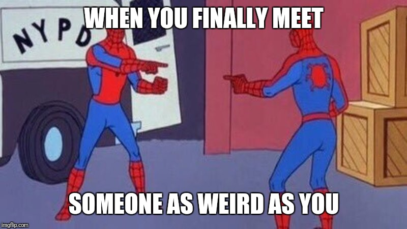 Incepider-man! | WHEN YOU FINALLY MEET SOMEONE AS WEIRD AS YOU | image tagged in when you see it,inception,spiderman,wonder twins | made w/ Imgflip meme maker