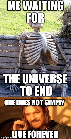 ME WAITING FOR THE UNIVERSE TO END ONE DOES NOT SIMPLY LIVE FOREVER | image tagged in memes,waiting skeleton,one does not simply | made w/ Imgflip meme maker