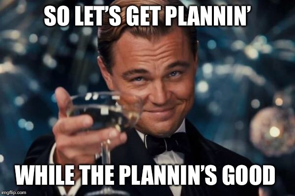 Leonardo Dicaprio Cheers Meme | SO LET'S GET PLANNIN' WHILE THE PLANNIN'S GOOD | image tagged in memes,leonardo dicaprio cheers | made w/ Imgflip meme maker