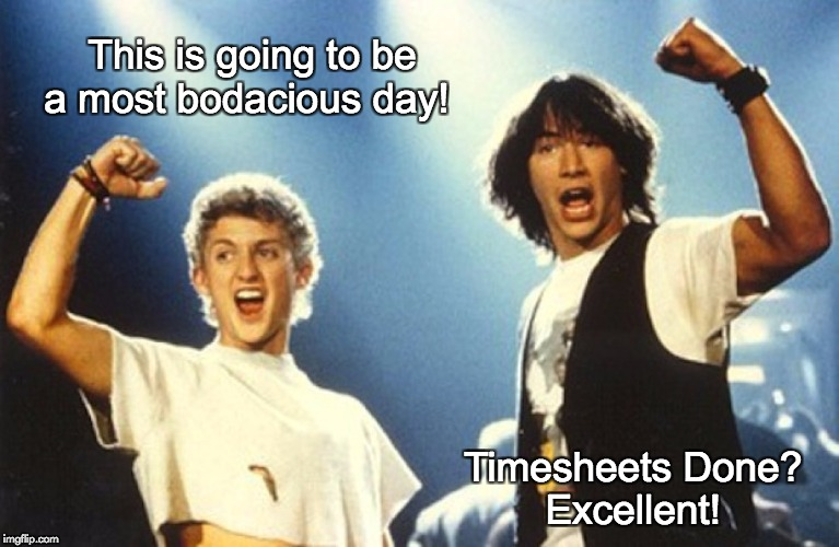 This is going to be a most bodacious day! Timesheets Done? Excellent! | image tagged in bill  ted timesheet meme | made w/ Imgflip meme maker