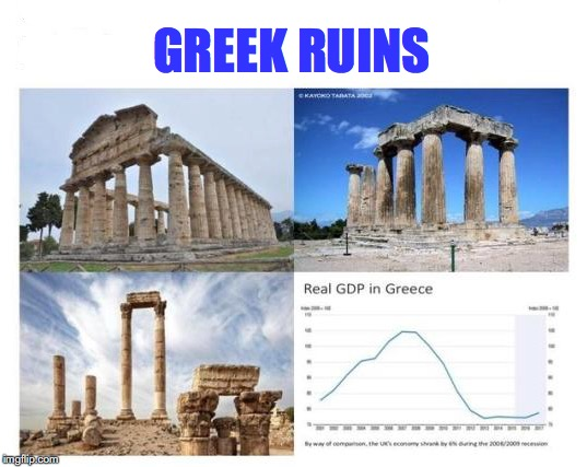Unfortunately Logos Did Not Survive | GREEK RUINS | image tagged in greece,economics,collapse | made w/ Imgflip meme maker