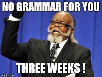 Too Damn High Meme | NO GRAMMAR FOR YOU THREE WEEKS ! | image tagged in memes,too damn high | made w/ Imgflip meme maker