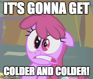 Winter is here! | IT'S GONNA GET COLDER AND COLDER! | image tagged in memes,ponies,winter,cold weather | made w/ Imgflip meme maker