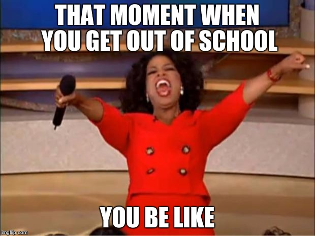 Oprah You Get A Meme | THAT MOMENT WHEN YOU GET OUT OF SCHOOL YOU BE LIKE | image tagged in memes,oprah you get a | made w/ Imgflip meme maker