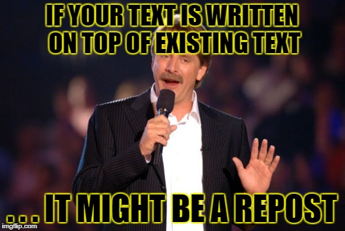 IF YOUR TEXT IS WRITTEN ON TOP OF EXISTING TEXT . . . IT MIGHT BE A REPOST | made w/ Imgflip meme maker