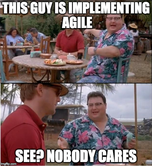 See Nobody Cares Meme | THIS GUY IS IMPLEMENTING AGILE SEE? NOBODY CARES | image tagged in memes,see nobody cares | made w/ Imgflip meme maker