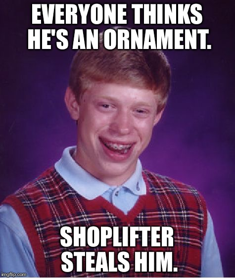 Bad Luck Brian Meme | EVERYONE THINKS HE'S AN ORNAMENT. SHOPLIFTER STEALS HIM. | image tagged in memes,bad luck brian | made w/ Imgflip meme maker