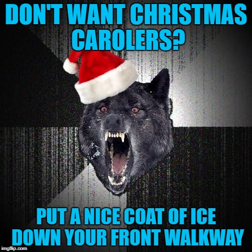 DON'T WANT CHRISTMAS CAROLERS? PUT A NICE COAT OF ICE DOWN YOUR FRONT WALKWAY | image tagged in christmas insanity wolf,americanpenguin | made w/ Imgflip meme maker