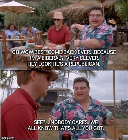 See Nobody Cares Meme | OH WOW BEST COME BACK EVER...BECAUSE IM A LIBERAL?  VERY CLEVER. HEY LOOK HE'S A REPUBLICAN. SEE? ...NOBODY CARES. WE ALL KNOW THAT'S ALL YO | image tagged in memes,see nobody cares | made w/ Imgflip meme maker