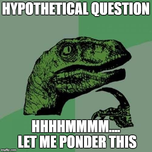 Philosoraptor Meme | HYPOTHETICAL QUESTION HHHHMMMM.... LET ME PONDER THIS | image tagged in memes,philosoraptor | made w/ Imgflip meme maker