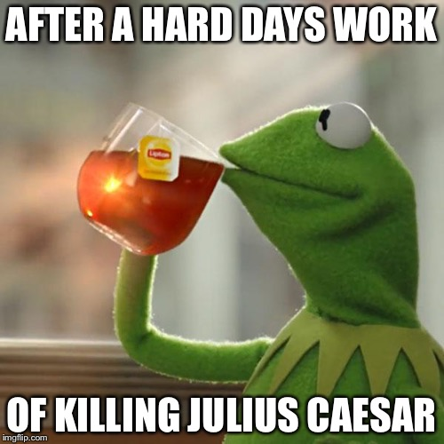 But Thats None Of My Business Meme | AFTER A HARD DAYS WORK OF KILLING JULIUS CAESAR | image tagged in memes,but thats none of my business,kermit the frog | made w/ Imgflip meme maker