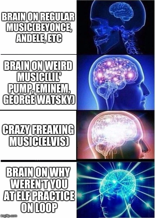 Expanding Brain Meme | BRAIN ON REGULAR MUSIC(BEYONCE, ANDELE, ETC BRAIN ON WEIRD MUSIC(LIL' PUMP, EMINEM, GEORGE WATSKY) CRAZY FREAKING MUSIC(ELVIS) BRAIN ON WHY  | image tagged in memes,expanding brain | made w/ Imgflip meme maker