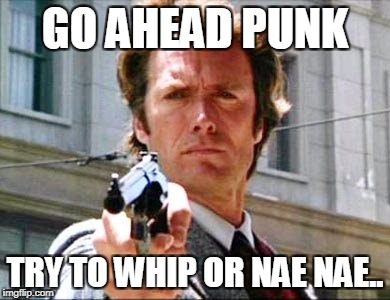 Dirty harry | GO AHEAD PUNK TRY TO WHIP OR NAE NAE.. | image tagged in dirty harry | made w/ Imgflip meme maker