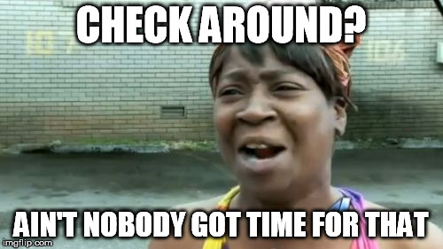Aint Nobody Got Time For That Meme | CHECK AROUND? AIN'T NOBODY GOT TIME FOR THAT | image tagged in memes,aint nobody got time for that | made w/ Imgflip meme maker