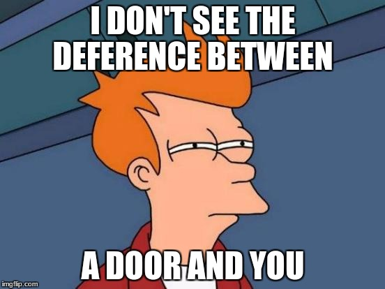Futurama Fry Meme | I DON'T SEE THE DEFERENCE BETWEEN A DOOR AND YOU | image tagged in memes,futurama fry | made w/ Imgflip meme maker