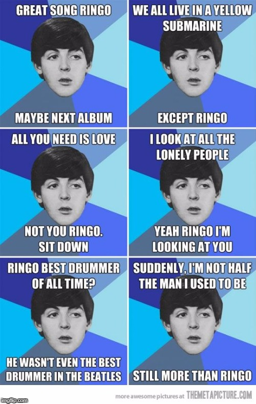 Stink-o Starr, Forge Harrison, Fool McCartney and Con Lennon, the poorer version | image tagged in beatles,music,joke,funny,memes | made w/ Imgflip meme maker