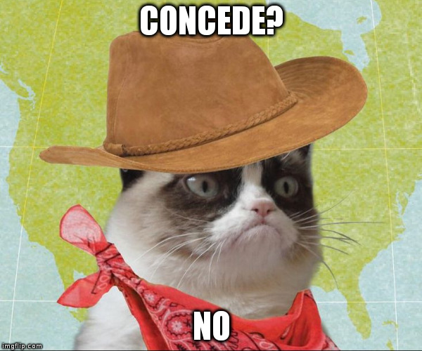 ROY MOORE GRUMPY CAT | CONCEDE? NO | image tagged in grumpcatcowboy | made w/ Imgflip meme maker