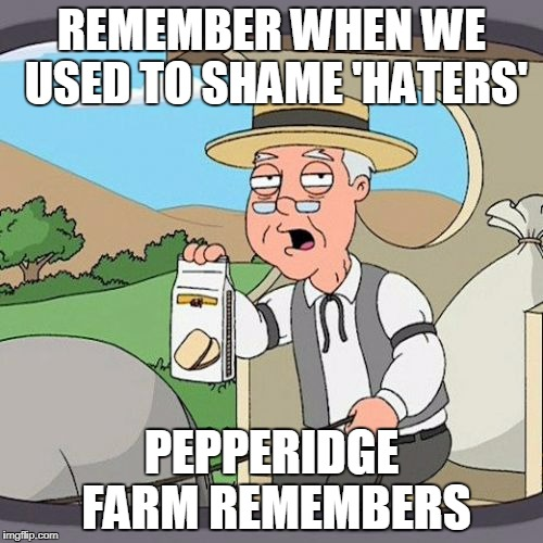 Pepperidge Farm Remembers Meme | REMEMBER WHEN WE USED TO SHAME 'HATERS' PEPPERIDGE FARM REMEMBERS | image tagged in memes,pepperidge farm remembers | made w/ Imgflip meme maker