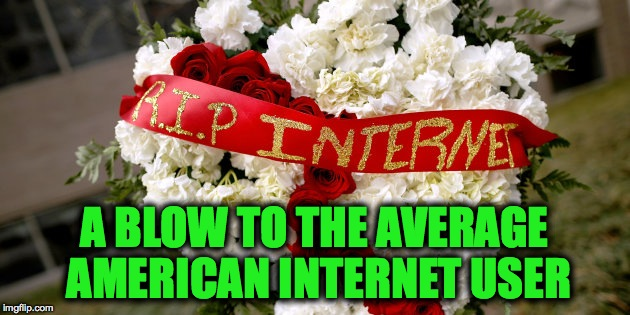 Sad Day For My American Friends, Net Neutrality Repealed 12/14/17 | A BLOW TO THE AVERAGE AMERICAN INTERNET USER | image tagged in rip internet | made w/ Imgflip meme maker