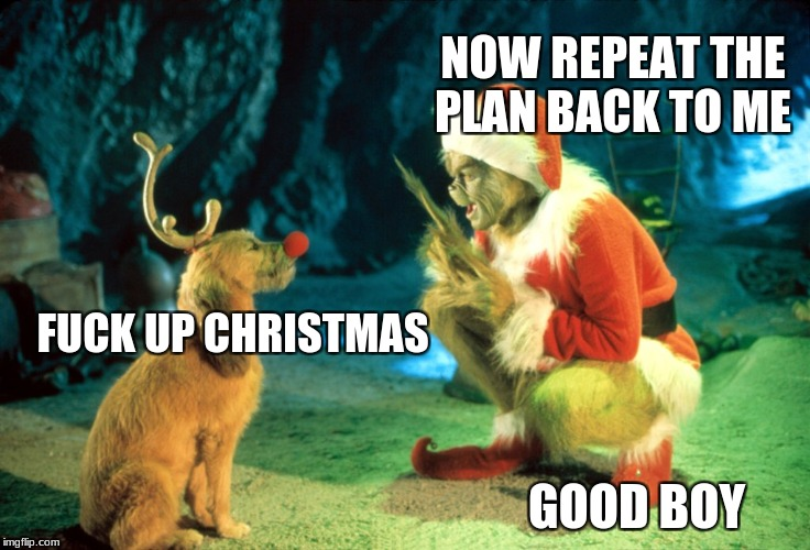 The Grinch | NOW REPEAT THE PLAN BACK TO ME GOOD BOY F**K UP CHRISTMAS | image tagged in memes,funny,the grinch | made w/ Imgflip meme maker