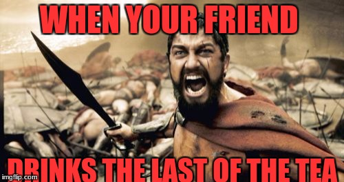 Sparta Leonidas Meme | WHEN YOUR FRIEND DRINKS THE LAST OF THE TEA | image tagged in memes,sparta leonidas | made w/ Imgflip meme maker