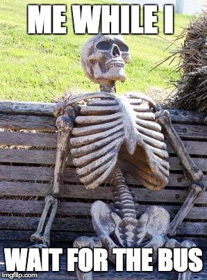 Waiting Skeleton Meme |  ME WHILE I; WAIT FOR THE BUS | image tagged in memes,waiting skeleton | made w/ Imgflip meme maker
