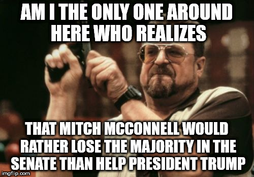 Am I The Only One Around Here Meme | AM I THE ONLY ONE AROUND HERE WHO REALIZES THAT MITCH MCCONNELL WOULD RATHER LOSE THE MAJORITY IN THE SENATE THAN HELP PRESIDENT TRUMP | image tagged in memes,am i the only one around here | made w/ Imgflip meme maker
