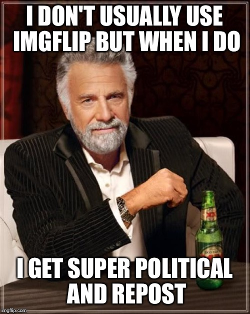 The Most Interesting Man In The World | I DON'T USUALLY USE IMGFLIP BUT WHEN I DO I GET SUPER POLITICAL AND REPOST | image tagged in memes,the most interesting man in the world | made w/ Imgflip meme maker