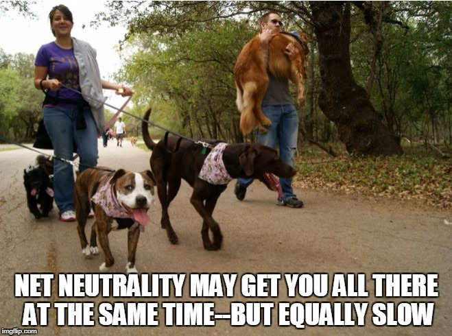 Net Neutrality at what cost? | NET NEUTRALITY MAY GET YOU ALL THERE AT THE SAME TIME--BUT EQUALLY SLOW | image tagged in net neutrality,political humor | made w/ Imgflip meme maker