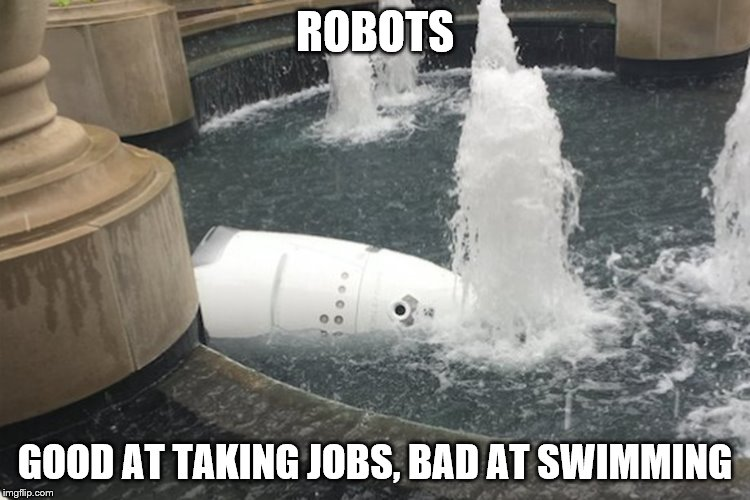 Why we won't see these at water parks | ROBOTS GOOD AT TAKING JOBS, BAD AT SWIMMING | image tagged in robots,swimming | made w/ Imgflip meme maker