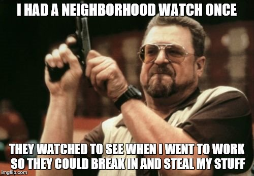 Am I The Only One Around Here Meme | I HAD A NEIGHBORHOOD WATCH ONCE THEY WATCHED TO SEE WHEN I WENT TO WORK SO THEY COULD BREAK IN AND STEAL MY STUFF | image tagged in memes,am i the only one around here | made w/ Imgflip meme maker