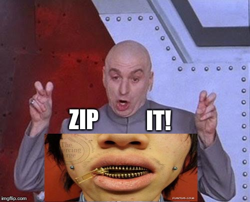 What you shouldn't say, but want to say. | ZIP IT! | image tagged in memes,dr evil laser | made w/ Imgflip meme maker
