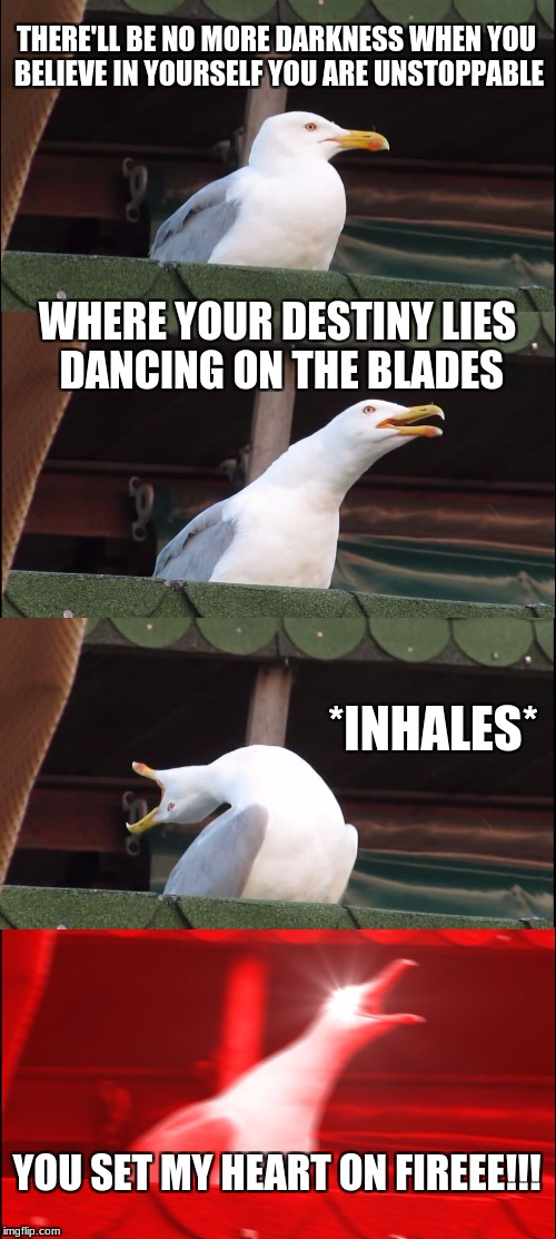 Inhaling Seagull Meme | THERE'LL BE NO MORE DARKNESS WHEN YOU BELIEVE IN YOURSELF YOU ARE UNSTOPPABLE WHERE YOUR DESTINY LIES DANCING ON THE BLADES *INHALES* YOU SE | image tagged in inhaling seagull | made w/ Imgflip meme maker