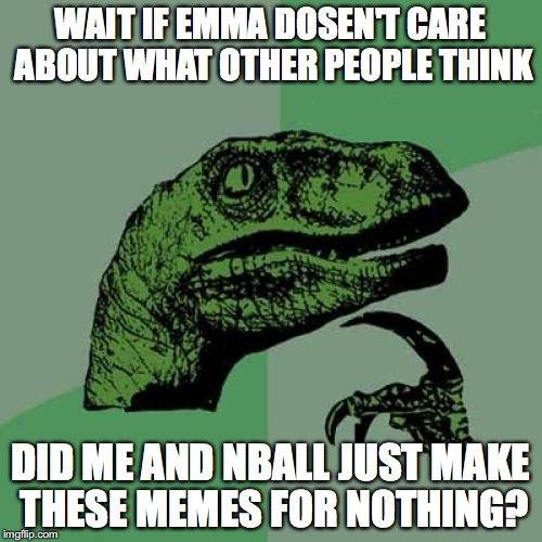 Philosoraptor Meme | WAIT IF EMMA DOSEN'T CARE ABOUT WHAT OTHER PEOPLE THINK DID ME AND NBALL JUST MAKE THESE MEMES FOR NOTHING? | image tagged in memes,philosoraptor | made w/ Imgflip meme maker