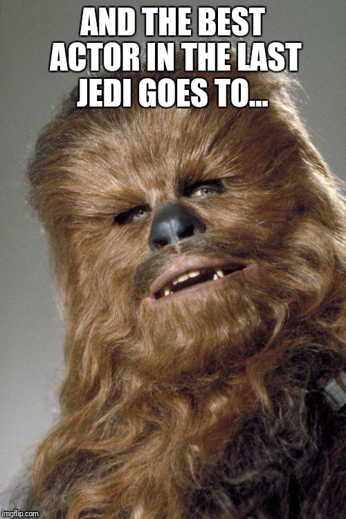 Chewbacca FTW |  AND THE BEST ACTOR IN THE LAST JEDI GOES TO... | image tagged in wookie,the last jedi,star wars,oscars,disney,disney killed star wars | made w/ Imgflip meme maker