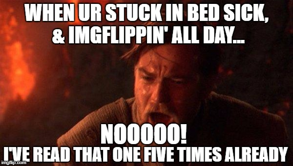 when ur stuck in bed sick imgflippin'  | WHEN UR STUCK IN BED SICK, & IMGFLIPPIN' ALL DAY... I'VE READ THAT ONE FIVE TIMES ALREADY NOOOOO! | image tagged in memes,you were the chosen one star wars,no,sick,sickness,nooooo | made w/ Imgflip meme maker