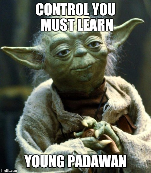 Star Wars Yoda Meme | CONTROL YOU MUST LEARN YOUNG PADAWAN | image tagged in memes,star wars yoda | made w/ Imgflip meme maker