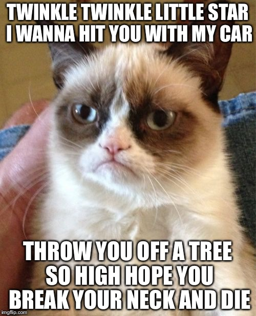 Grumpy Cat Meme | TWINKLE TWINKLE LITTLE STAR I WANNA HIT YOU WITH MY CAR THROW YOU OFF A TREE SO HIGH HOPE YOU BREAK YOUR NECK AND DIE | image tagged in memes,grumpy cat | made w/ Imgflip meme maker