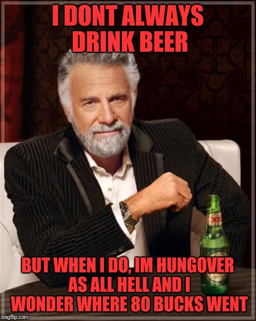 The Most Interesting Man In The World Meme | I DONT ALWAYS DRINK BEER BUT WHEN I DO, IM HUNGOVER AS ALL HELL AND I WONDER WHERE 80 BUCKS WENT | image tagged in memes,the most interesting man in the world | made w/ Imgflip meme maker