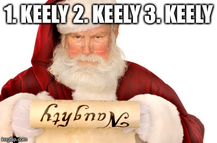 Santa Naughty List | 1. KEELY 2. KEELY 3. KEELY | image tagged in santa naughty list | made w/ Imgflip meme maker