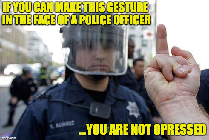 See Ya After My Shift | IF YOU CAN MAKE THIS GESTURE IN THE FACE OF A POLICE OFFICER ...YOU ARE NOT OPRESSED | image tagged in middle finger,protesters | made w/ Imgflip meme maker