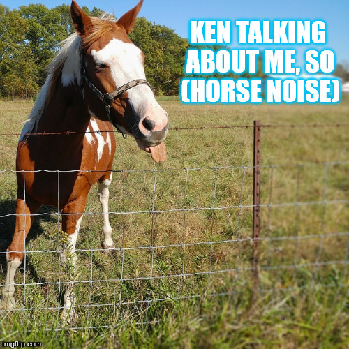 KEN TALKING ABOUT ME, SO (HORSE NOISE) | made w/ Imgflip meme maker