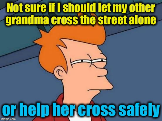 Futurama Fry Meme | Not sure if I should let my other grandma cross the street alone or help her cross safely | image tagged in memes,futurama fry | made w/ Imgflip meme maker