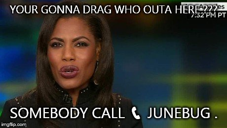 Omarosa | YOUR GONNA DRAG WHO OUTA HERE ??? SOMEBODY CALL  | image tagged in omarosa | made w/ Imgflip meme maker
