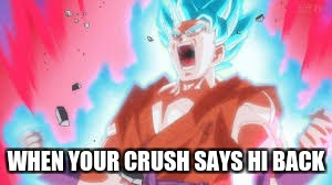WHEN YOUR CRUSH SAYS HI BACK | image tagged in funny,weird | made w/ Imgflip meme maker